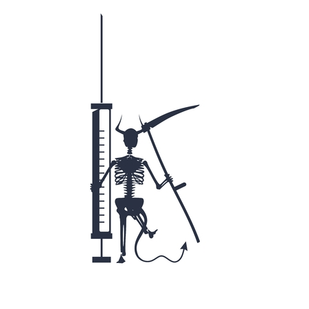 Abstract image relative to drugs addiction. Pharmacy and medicaments. Skeleton silhouette holding isometry volumetric syringe. Grim reaper 일러스트