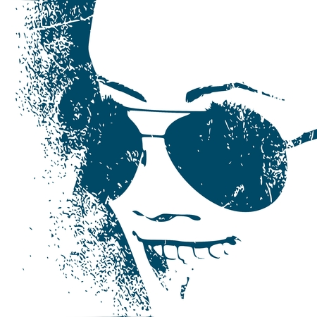 Portrait of surprised woman with open mouth in black sunglasses. Grunge texture