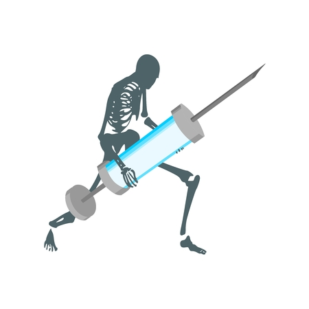 Abstract image relative to drugs addiction. Pharmacy and medicaments. Skeleton silhouette holding isometry volumetric syringe 일러스트