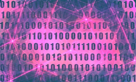 Binary code background with digits on screen. Algorithm binary, data code, decryption and encoding, row matrix. Flash lights Stock fotó