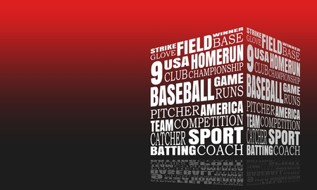 Word Cloud about Baseball Game. Cube Shape with Mirror Effect Banque d'images - 124602415