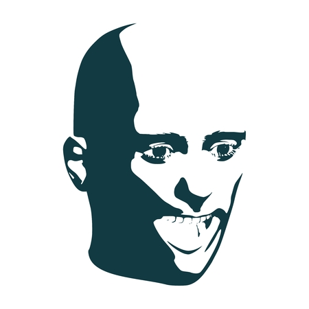 Portrait of surprised man with open mouth. Half turn view Ilustração