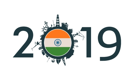 Circle with sea shipping and travel relative silhouettes. Objects located around the circle. Industrial design background. 2019 year number. Flag of the India Ilustração