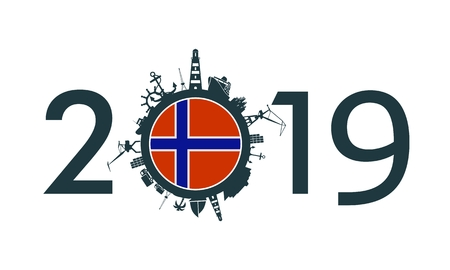 Circle with sea shipping and travel relative silhouettes. Objects located around the circle. Industrial design background. 2019 year number. Flag of the Norway