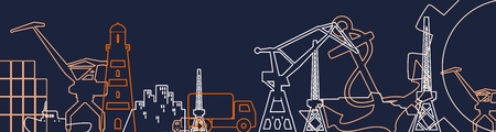 Cargo port relative icons set. Finland flag in gear. Illustration for web banner or header. Thin lines style