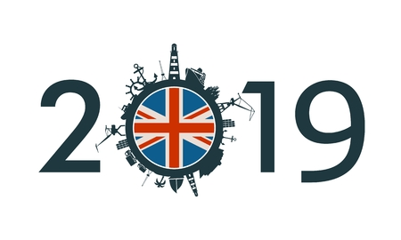 Circle with sea shipping and travel relative silhouettes. Objects located around the circle. Industrial design background. 2019 year number. Flag of the United Kingdom