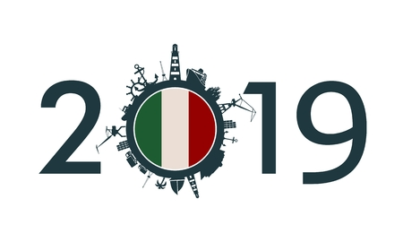 Circle with sea shipping and travel relative silhouettes. Objects located around the circle. Industrial design background. 2019 year number. Flag of the Italy Ilustração