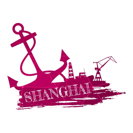 Anchor, lighthouse, ship and crane icons on brush stroke. Calligraphy inscription. Shanghai city name text. Connected lines with dots.
