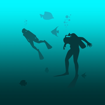 Silhouette of divers. Underwater world background. Underwater landscape. Marine life and fauna. Illustration
