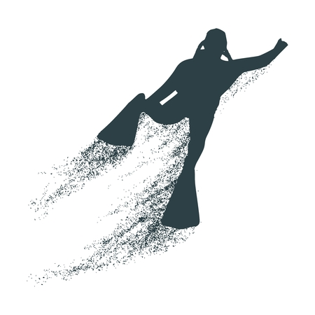 Silhouette of diver with trail of particles. The concept of sport diving.