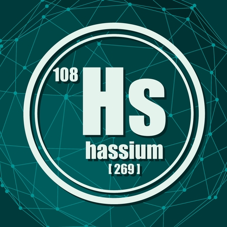 Hassium chemical element. Sign with atomic number and atomic weight. Chemical element of periodic table. Molecule And Communication Background. Connected lines with dots. Illustration