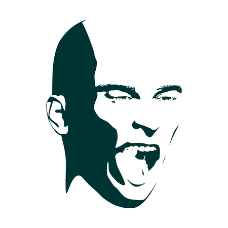 Man face. Angry man with open mouth. Front view Vector Illustration