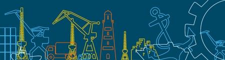 Frachthafen relative Symbole gesetzt. Finnland-Flagge im Gang. Illustration für Webbanner oder Header. Dünne Linien Stil