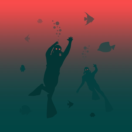 Silhouette of zombie diver. Underwater world background. . Marine life and fauna. Illustration