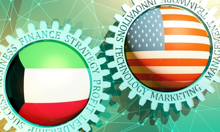Business relative words on the mechanism of gears. Communication concept in industrial design. Connected lines with dots background. USA and Kuwait business cooperation