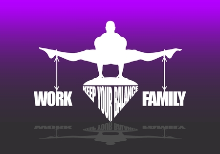 Balance between work and family. Concept of the scales