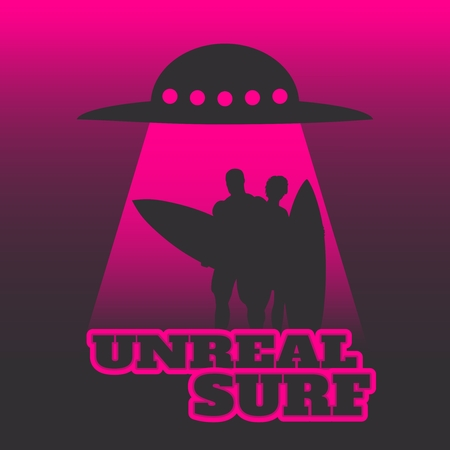 UFO abducts humans with surfboards. Space ship UFO ray of light in the night sky. Unreal surf text.
