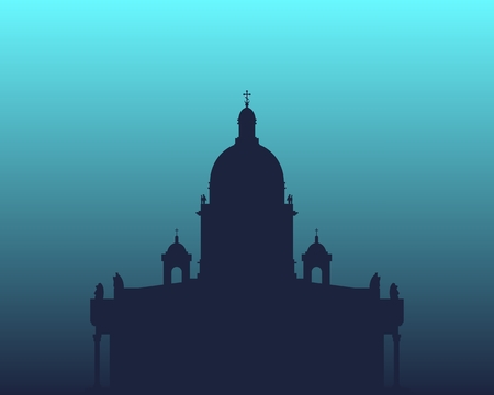 Silhouette of the Saint Isaac Cathedral in Saint Petersburg Russia. Modern minimalist icon.