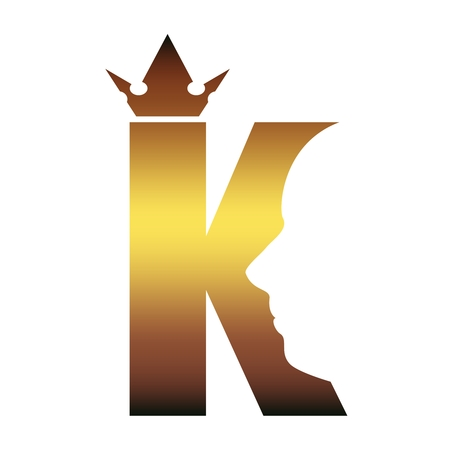 King . Royal luxury emblem. Face and crown icon. Business fantasy golden badge with K letter
