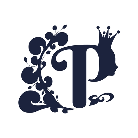 Vintage royal emblem with P letter silhouette decorated by floral pattern. Princess head silhouette with crown. Medieval queen profile. Fashion shop or hair saloon emblem design Banque d'images - 124349088