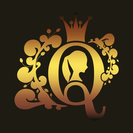 Vintage queen silhouette. Medieval queen profile. Elegant silhouette of a female head. Ponytail hairstyle. Royal emblem with Q letter decorated by floral pattern