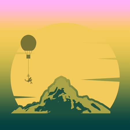 Woman flying on air balloon. Silhouette of beautiful mermaid sitting at anchor. Outdoor icon of the mountain tops and sunrise