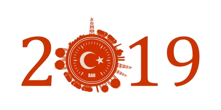 Circle with energy relative silhouettes. Design set of natural gas industry. Objects located around the manometer circle. 2019 year number. Flag of the Turkey