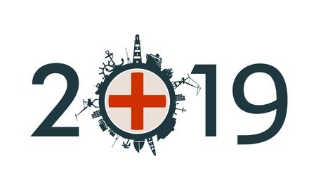 Circle with sea shipping and travel relative silhouettes. Objects located around the circle. Industrial design background. 2019 year number. Flag of the Genoa