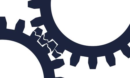 Mechanism of Gears. Communication Concept in Industrial Design. Modern brochure design template. Broken teeth