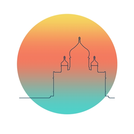 Cathedral of Christ the Savior in Moscow. Simple outline silhouette Illusztráció