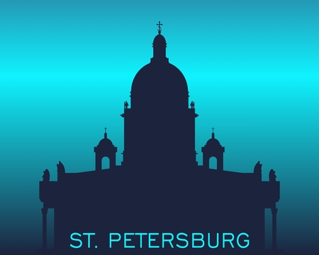 Silhouette of the Saint Isaac Cathedral in Saint Petersburg Russia. Modern minimalist silhouette Ilustrace