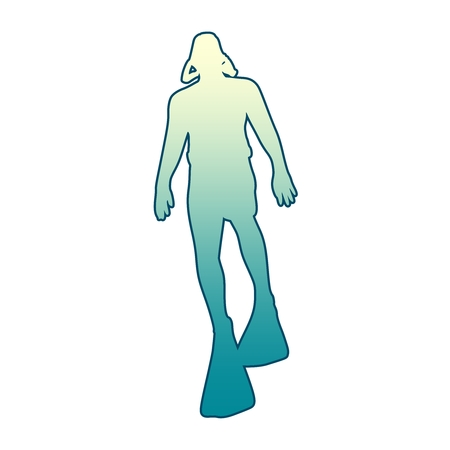 Silhouette of diver. Outline web icon of diver. The concept of sport diving.