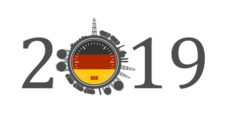 Circle with energy relative silhouettes. Design set of natural gas industry. Objects located around the manometer circle. 2019 year number. Flag of the Germany Vektoros illusztráció