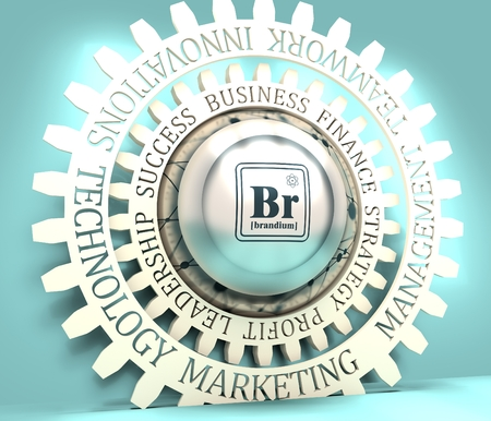 Business relative metaphor. Fictional chemical element. Industrial design button with connected lines with dots texture. Business relative words on the gear. 3D rendering