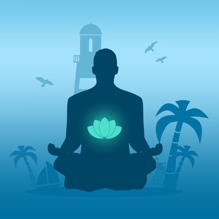 Businessman sit in meditation pose. Seaside view poster. Palm and safeguard tower on the beach. Yacht and lighthouse silhouettes. Relaxation after work concept. Lotus flower glowing symbol