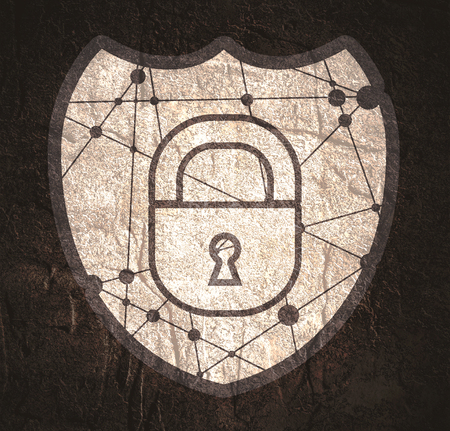 Cyber security concept. Shield with lock symbol. Design for infographics or presentation.
