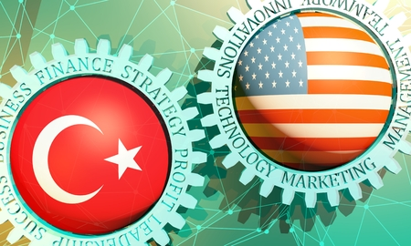 Business relative words on the mechanism of gears. Communication concept in industrial design. Connected lines with dots background. USA and Turkey business cooperation. 3D rendering 版權商用圖片