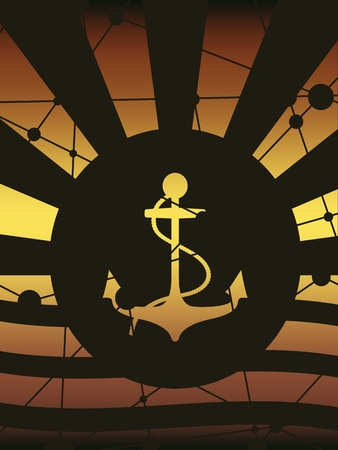 Abstract sun burst vintage banner. Anchor with rope silhouette. Connected lines and dots texture