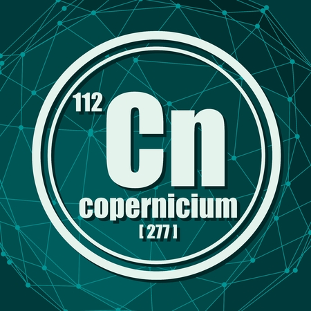 Copernicium chemical element. Sign with atomic number and atomic weight. Chemical element of periodic table. Molecule And Communication Background. Connected lines with dots.