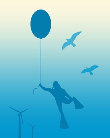 The young man in diver suit flying with party balloon