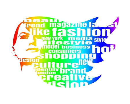Face front view. Elegant silhouette of a female head. Multicolor Illustration. Fashion Relative Keywords Cloud Illusztráció