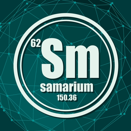 Samarium chemical element. Sign with atomic number and atomic weight. Chemical element of periodic table. Molecule And Communication Background. Connected lines with dots.