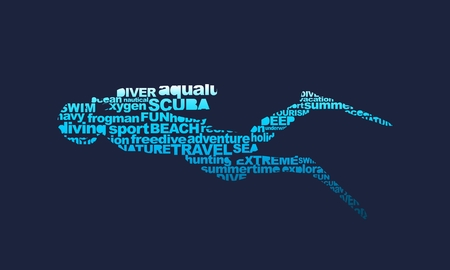 Silhouette of diver from relative words cloud. Icon diver. The concept of sport diving.