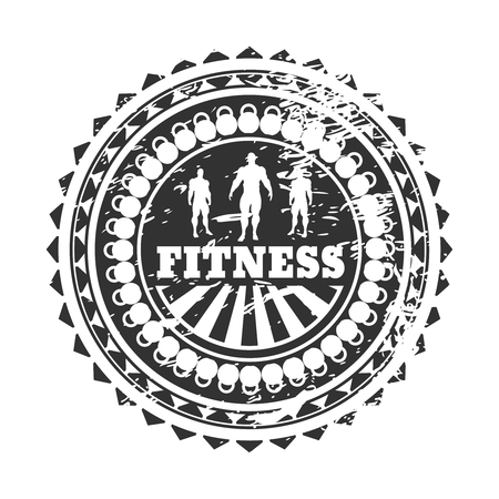 Muscular man posing. Bodybuilding coat of arms. Sporty style stamp. Distressed grunge texture