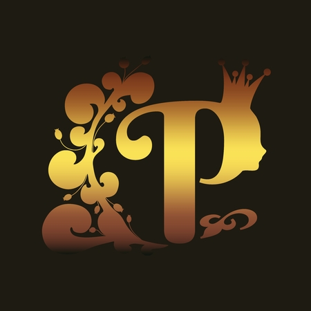 Vintage royal emblem with P letter silhouette decorated by floral pattern. Princess head silhouette with crown. Medieval queen profile. Fashion shop or hair saloon emblem design Banque d'images - 119515039