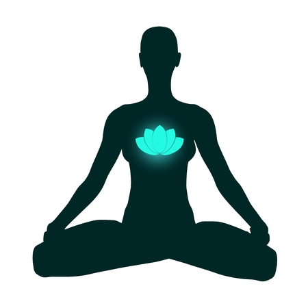 Woman sit in meditation pose. Cutout silhouette. Lotus flower icon