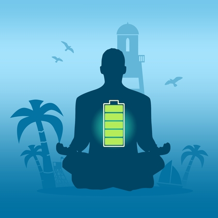 Businessman sit in meditation pose. Seaside view poster. Palm and safeguard tower on the beach. Yacht and lighthouse silhouettes. Relaxation after work concept. High full level energy battery Stock Illustratie