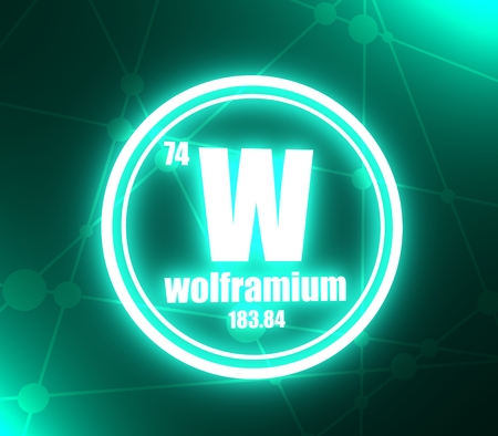 Wolframium chemical element. Sign with atomic number and atomic weight. Chemical element of periodic table. Molecule and communication background. Connected lines with dots. 3D rendering