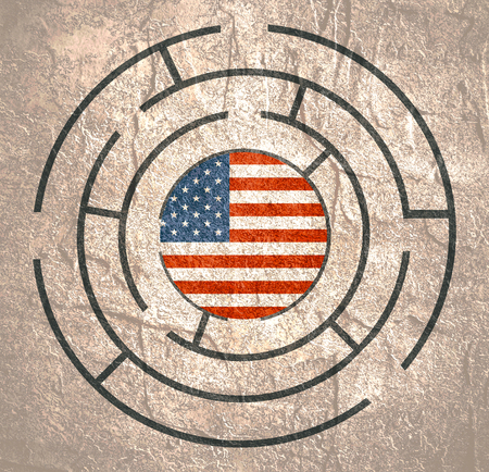 Flag of the USA in the maze of politic problems.