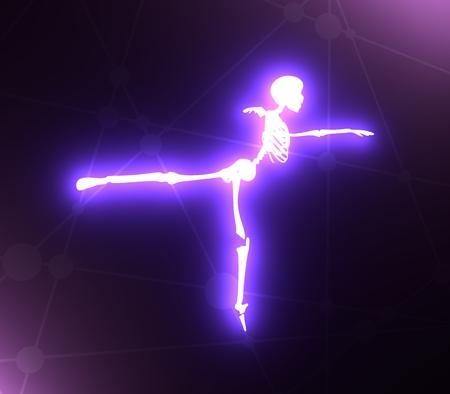 Human skeleton dancing. Halloween party design template. 3D rendering